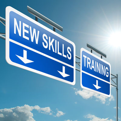 New Skills and Training Sign